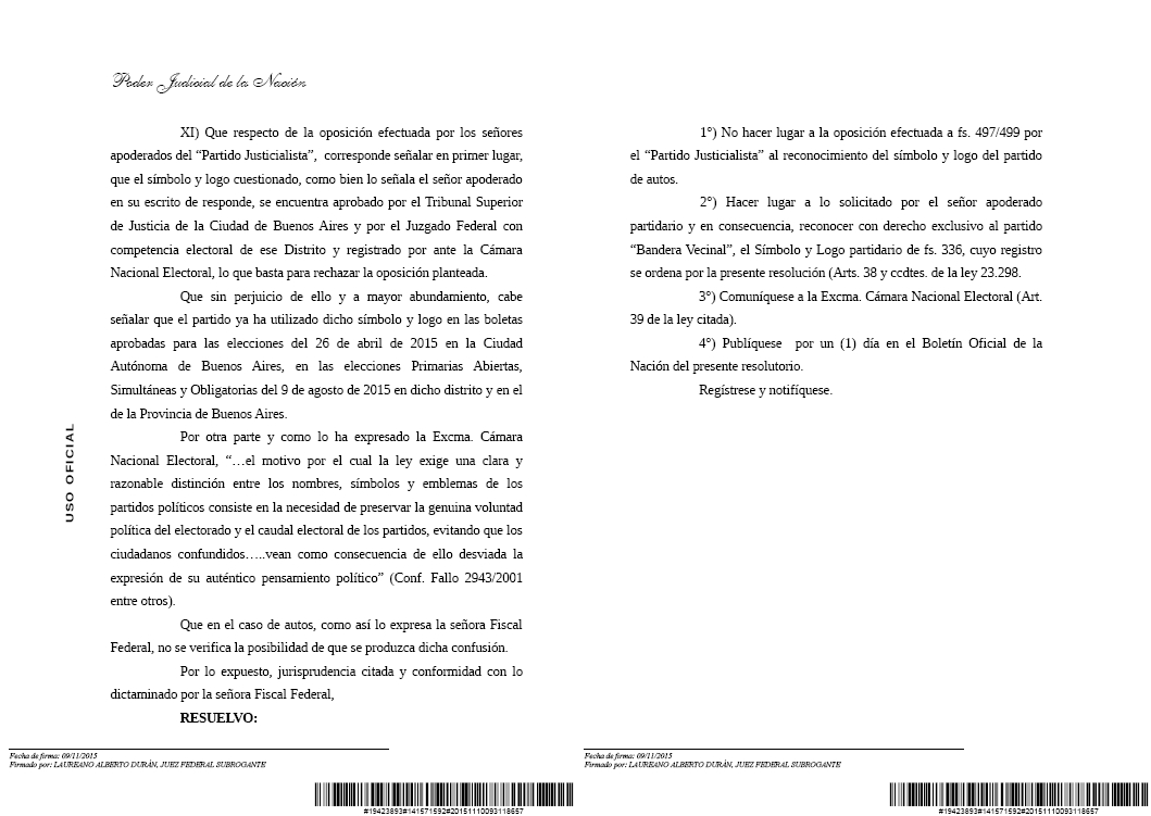 Justicia Electoral: Bandera Vecinal derrotó al kirchnerismo en Tribunales, nuevamente