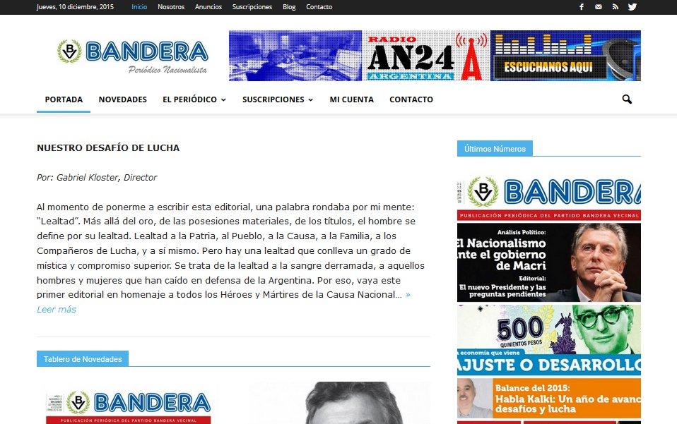 Portada sitio web Bandera