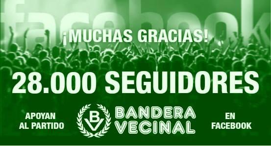 Más de 28.000 seguidores apoyan a Bandera Vecinal en Facebook