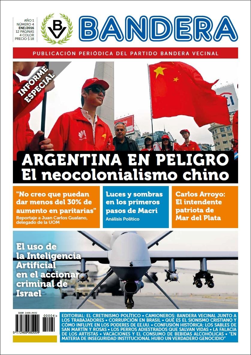 (Ver Ampliado) Tapa del N° 4 del periódico Bandera - Enero 2016