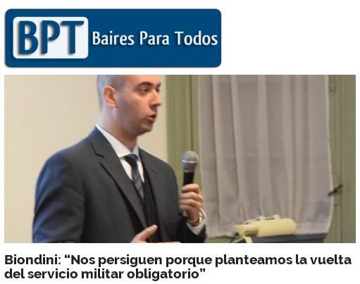 """Biondini (h): """"Nos persiguen porque planteamos la vuelta del servicio militar obligatorio"""" (Agencia Baires Para Todos)"""