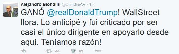 Mensaje en twitter de Alejandro Biondini al confirmarse el triunfo de Trump